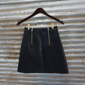 Leather Skirt with Zipper Accents.